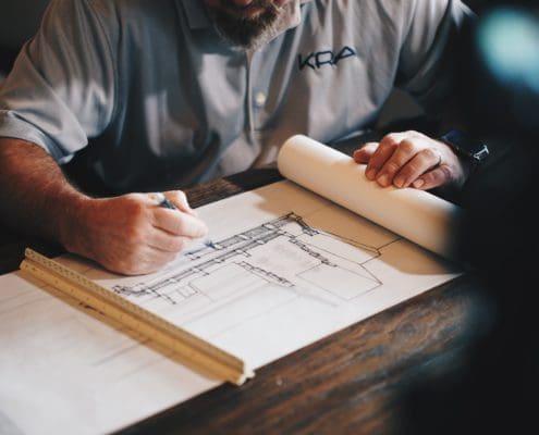 Einrichtung der Wohnung auf Papier planen